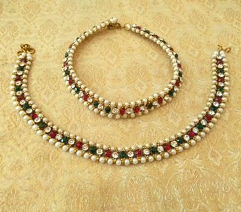 Marvelous multicolor adustable diamond pearl payal anklets