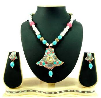 Jaipuri enamel work kundan pearl gold tone necklace earring set k62