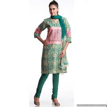 Designer Chanderi Suit With Unique Patch Work