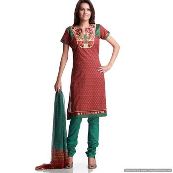 Party Wear Cotton Suit With Embroidered Yoke