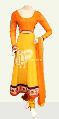 Designer yellow with orange design work replica