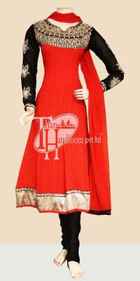 Gorgeous red with black embroidery work replica