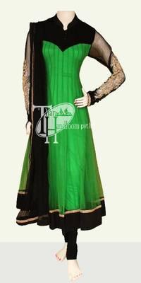 Parrot green with black beautiful work designer replica