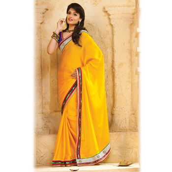 Yellow Designer Saree with Prints