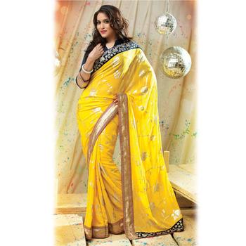 Yellow Designer Saree with Prints