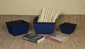 Rope Blue Jute storage baskets - set of three