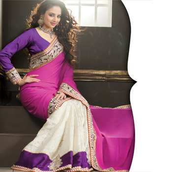 Magenta and OffWhite Designer Saree with Prints