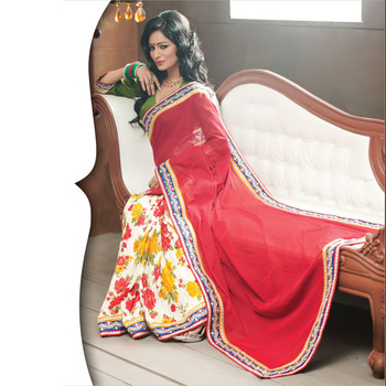 Red and OffWhite Designer Saree with Prints
