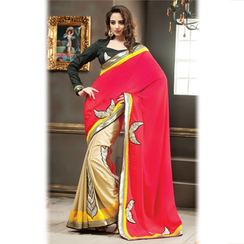 Red and Beige Designer Saree with Prints