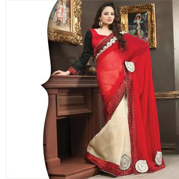 Red and Cream Designer Saree with Prints