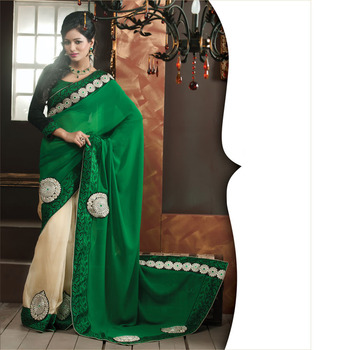 Green and Cream Designer Saree with Prints