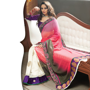 Pink and OffWhite Designer Saree with Prints