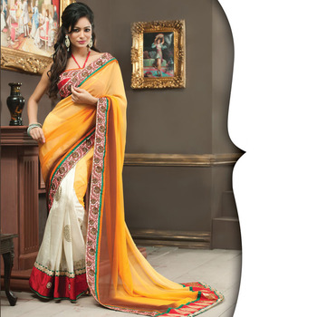 Mustard and OffWhite Designer Saree with Prints