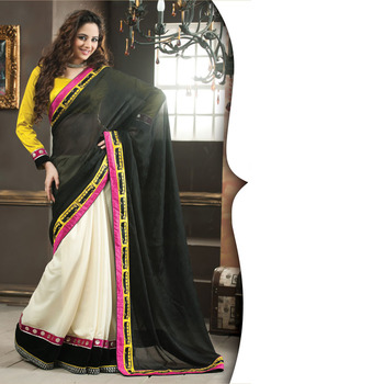 Black and OffWhite Designer Saree with Prints