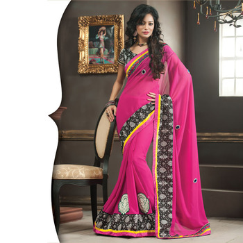 Magenta Designer Saree with Prints