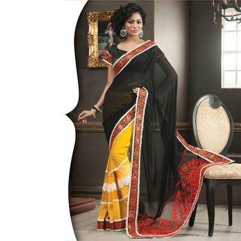 Black and Yellow Designer Saree with Prints