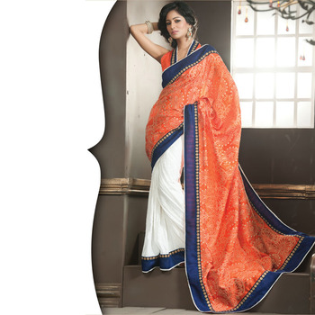 Orange and White Designer Saree with Prints