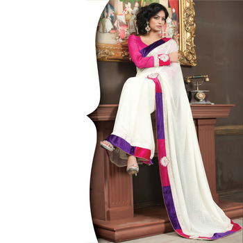 White Designer Saree with Prints