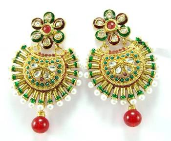 Polki ruby emerald  pearl gold tone dangler earring a1