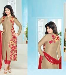Buy Golden cotton embroidered semi stitiched salwar with dupatta cotton-salwar-kameez online