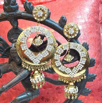 Beautiful light weight ethnic oxidised Golden earring