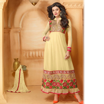Beige Designer Anarkali Suit