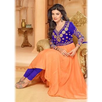 Blue and Orange Designer Anarkali Suit