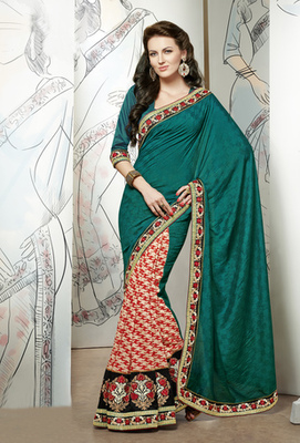 Hypnotex Green+Maroon Viscose Checks Dyed  Saree Signature1802