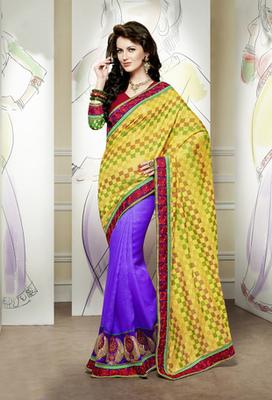 Hypnotex Yellow+Purple Banarasi Jacquard+Scurt Jute Silk Saree Signature1804