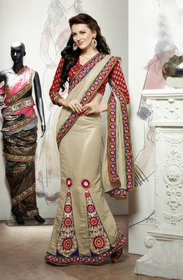 Hypnotex Cream Pashmina Saree Signature1805