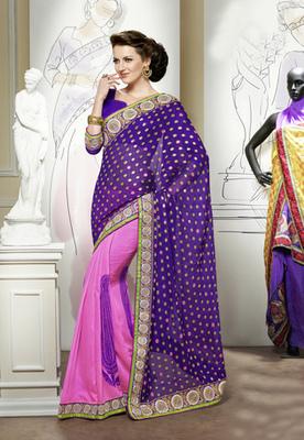 Hypnotex Purple+Pink Viscose Goli Pallu Saree Signature1806
