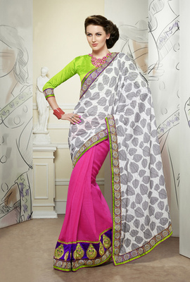 Hypnotex Off White+Pink Cotton Jacquard with Foil Print+Scurt Jute Silk Saree Signature1807