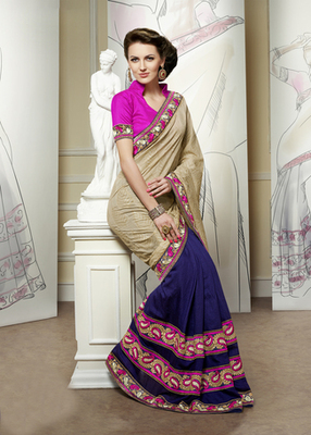 Hypnotex Cream+Blue Banarasi Jacquard+Viscose Plai Scurt Saree Signature1815