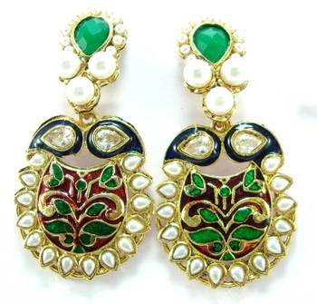 Emerald enamel work pearl kundan gold tone dangler earring a3