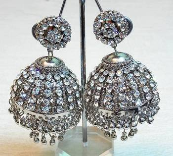 Elegant and trendy, ethnic zircon stud silver color earring jhumki