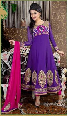 Lush Purple and Pink Anarkali Salwar Kameez