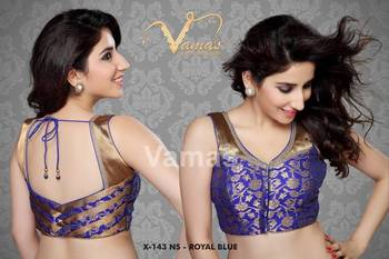 Gold Brocade Readymade Saree Blouse with Moti Lace. X143NS Royal Blue
