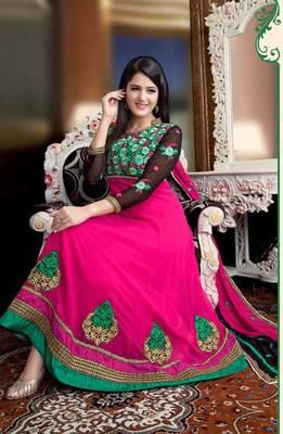 Chic Pink and Black Anarkali  Salwar Kameez