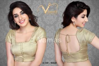 c810574f2d8521 x 144 Gold readymade designer saree blouse with moti lace. Padded ...