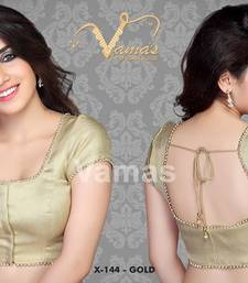 x 144 Gold readymade designer saree blouse with moti lace. Padded shop online