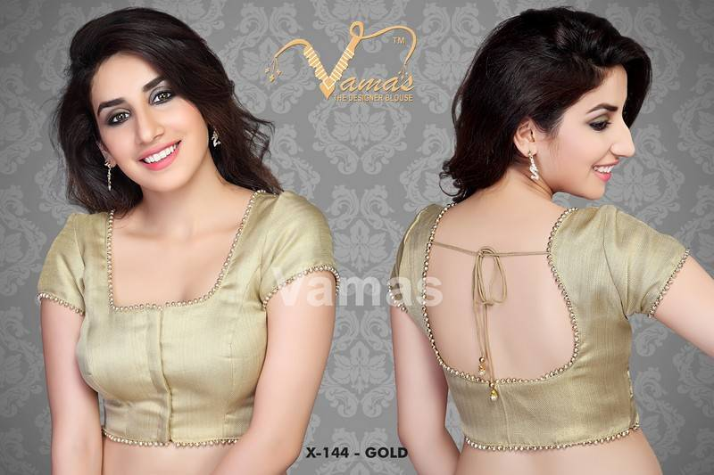 Buy X 144 Gold Readymade Designer Saree Blouse With Moti Lace