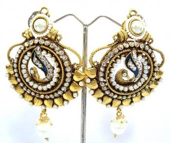 Peacock style ethnic jewellery pearl cz earring a8