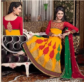 Fascinating Yellow and Green Anarkali  Salwar Kameez
