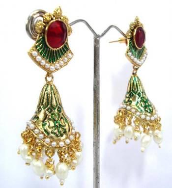 Polki red kundan pearl gold tone earring a9
