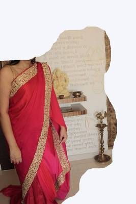 Satin Silk  Designer Saree in Multi Red Color with Royal Gold cut work border