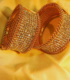 Buy Designer stone gold plated side open pair of kara bangles-and-bracelet online