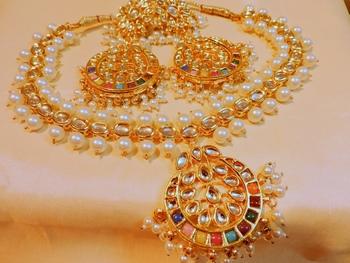 Designer Navratna Gold Plated Necklace Set