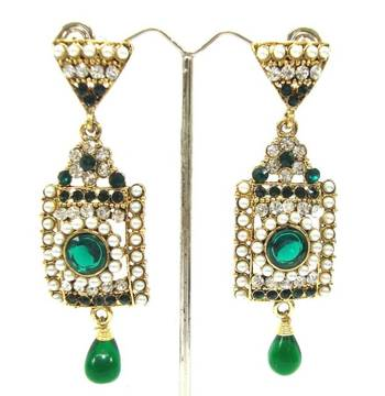 Bollywood style green cz long dangle earring a12