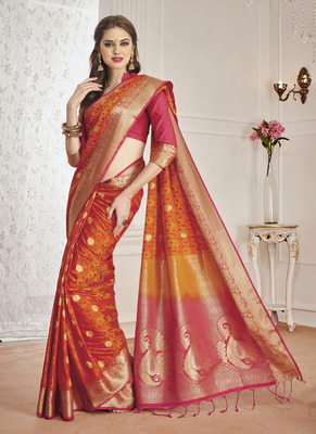 41b8fc8c8c Orange and Pink Woven Art Silk Saree With Unstitched Blouse ...