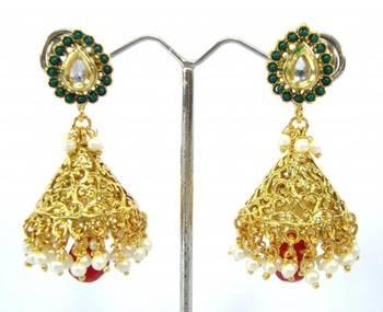 Polki emerald bridal jewellery jhumki earring a14